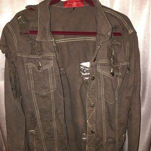 Brown distressed denim jacket